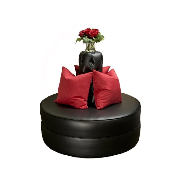 Delicieux Black Faux Leather 48 Inch Round Sofa