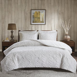 Woolrich Teton Embroidered Ultra Soft Plush Coverlet Set -King/ Cal King Size in Ivory (As Is Item)