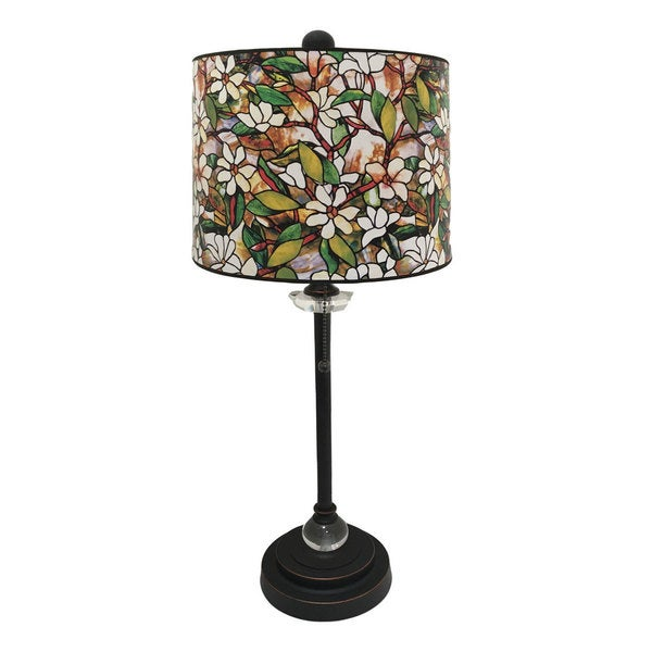 Royal Designs Oil Rub Bronze Lamp with Magnolia Stained Glass Design Lamp Shade