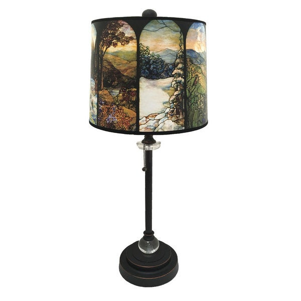Royal Designs Oil Rub Bronze Lamp with Seasons Stained Glass Design Lamp Shade