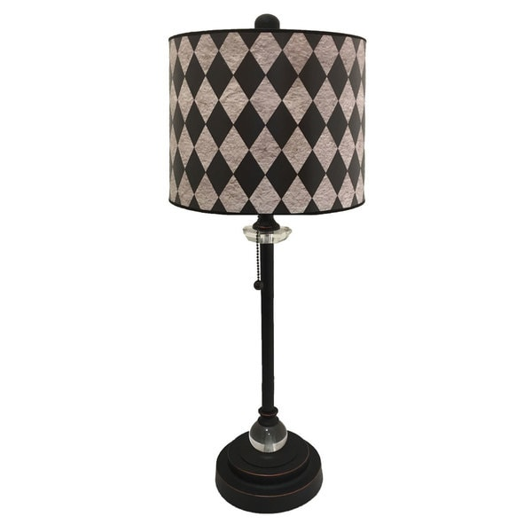 Royal Designs Oil Rub Bronze Lamp with Black Diamond on Grey Lamp Shade