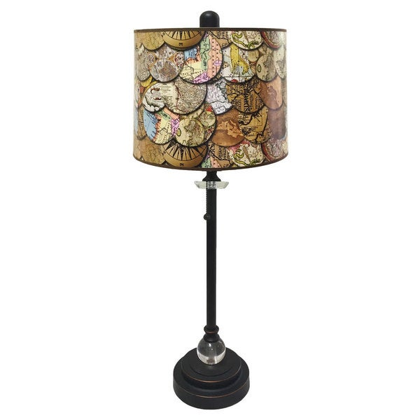 Royal Designs Oil Rub Bronze Lamp with Vintage World Maps Lamp Shade