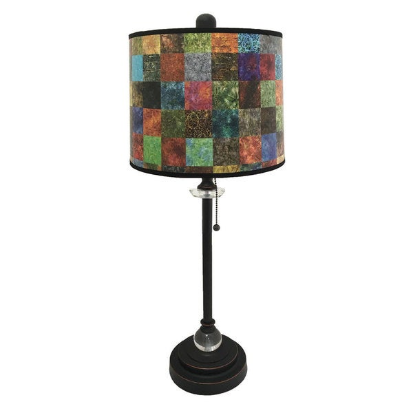Royal Designs Oil Rub Bronze Lamp with Patchwork Design Lamp Shade