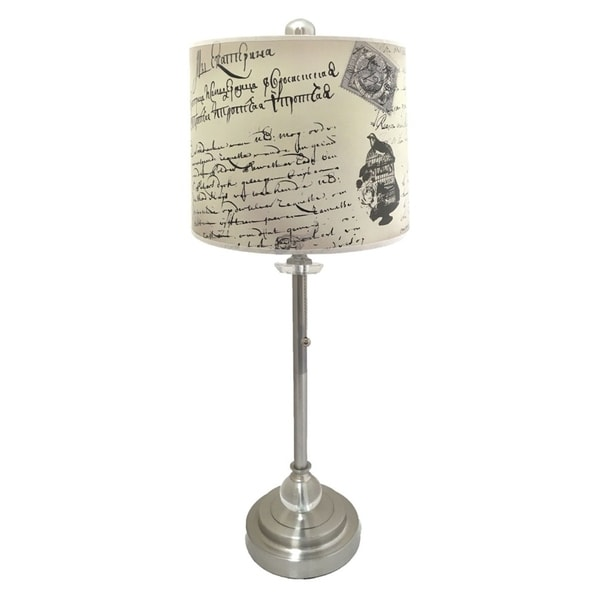 Royal Designs Brushed Nickel Lamp with Vintage Caligraphy Design Lamp Shade