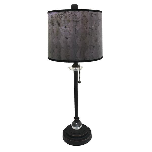 Royal Designs Oil Rub Bronze Lamp with Snakeskin Diamond Lamp Shade