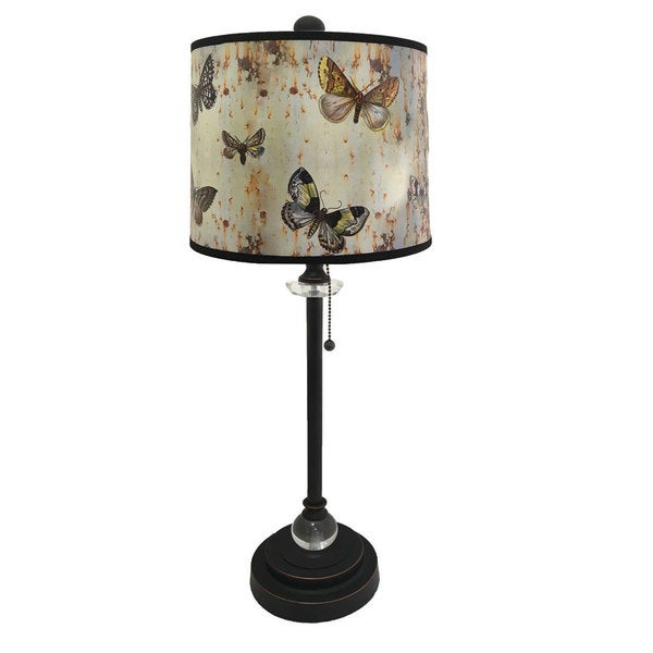 Royal Designs Oil Rub Bronze Lamp with Butterfly Graphic Lamp Shade