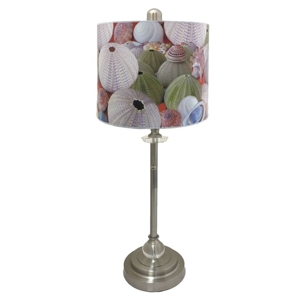 Royal Designs Brushed Nickel Lamp with Beach Shells Design Lamp Shade