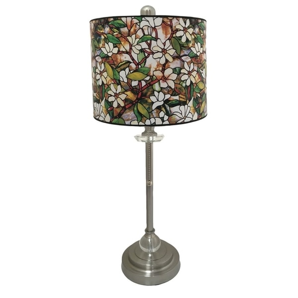 Royal Designs Brushed Nickel Lamp with Magnolia Stained Glass Design Lamp Shade