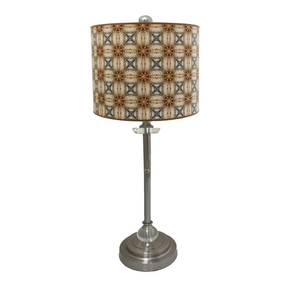 Royal Designs Brushed Nickel Lamp with Yellow and Gold Kaleidoscope Design Lamp Shade