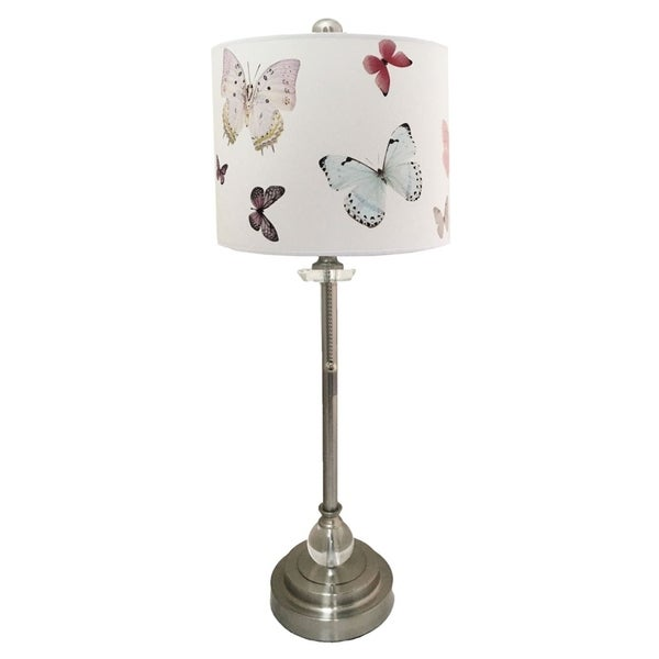 Royal Designs Brushed Nickel Lamp with Colorful Butterfly Design Lamp Shade