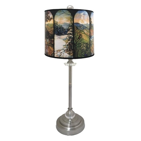 Royal Designs Brushed Nickel Lamp with Seasons Stained Glass Design Lamp Shade