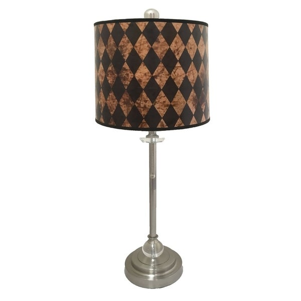 Royal Designs Brushed Nickel Lamp with Black Diamond Lamp Shade