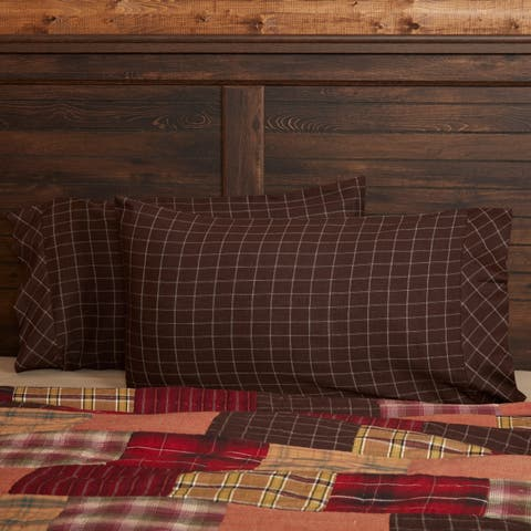 Brown Rustic Bedding VHC Wyatt Pillow Case Set of 2 Cotton Windowpane