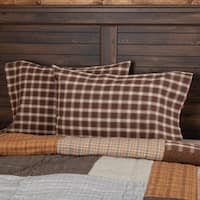 Brown Rustic Bedding VHC Rory Pillow Case Set of 2 Cotton Plaid