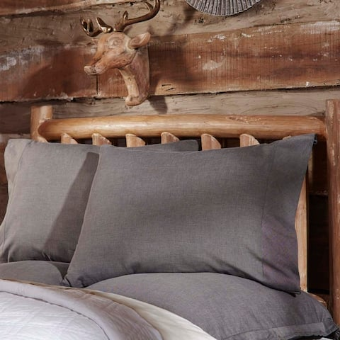 Black Rustic Bedding VHC Black Chambray Pillow Case Set of 2 Cotton Solid Chambray