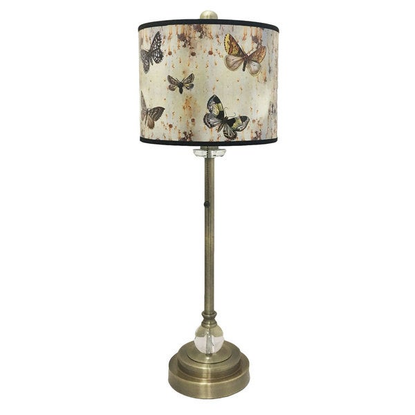 Royal Designs Antique Brass Buffet Lamp with Butterfly Lamp Shade