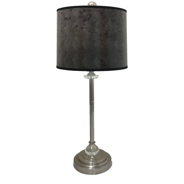 Royal Designs Brushed Nickel Lamp with Snakeskin Diamond Lamp Shade