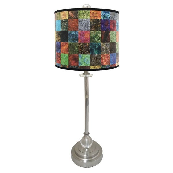 Royal Designs Brushed Nickel Lamp with Patchwork Design Lamp Shade
