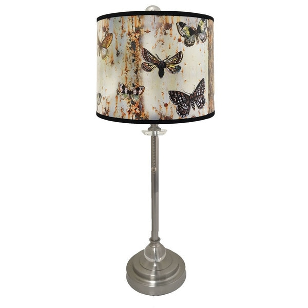 Royal Designs Brushed Nickel Lamp with Butterfly Graphic Lamp Shade