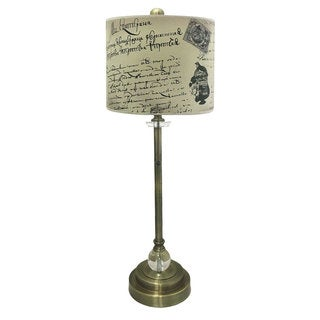 """Royal Designs 28"""" Crystal and Antique Brass Buffet Lamp with Vintage Letter Caligraphy Design Hard Back Lamp Shade"""
