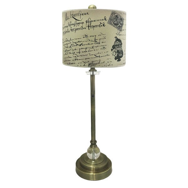 Royal Designs Antique Brass Lamp with Vintage Caligraphy Lamp Shade