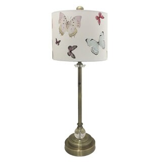 """Royal Designs 28"""" Crystal and Antique Brass Buffet Lamp with Colorful Butterfly Design Hard Back Lamp Shade"""