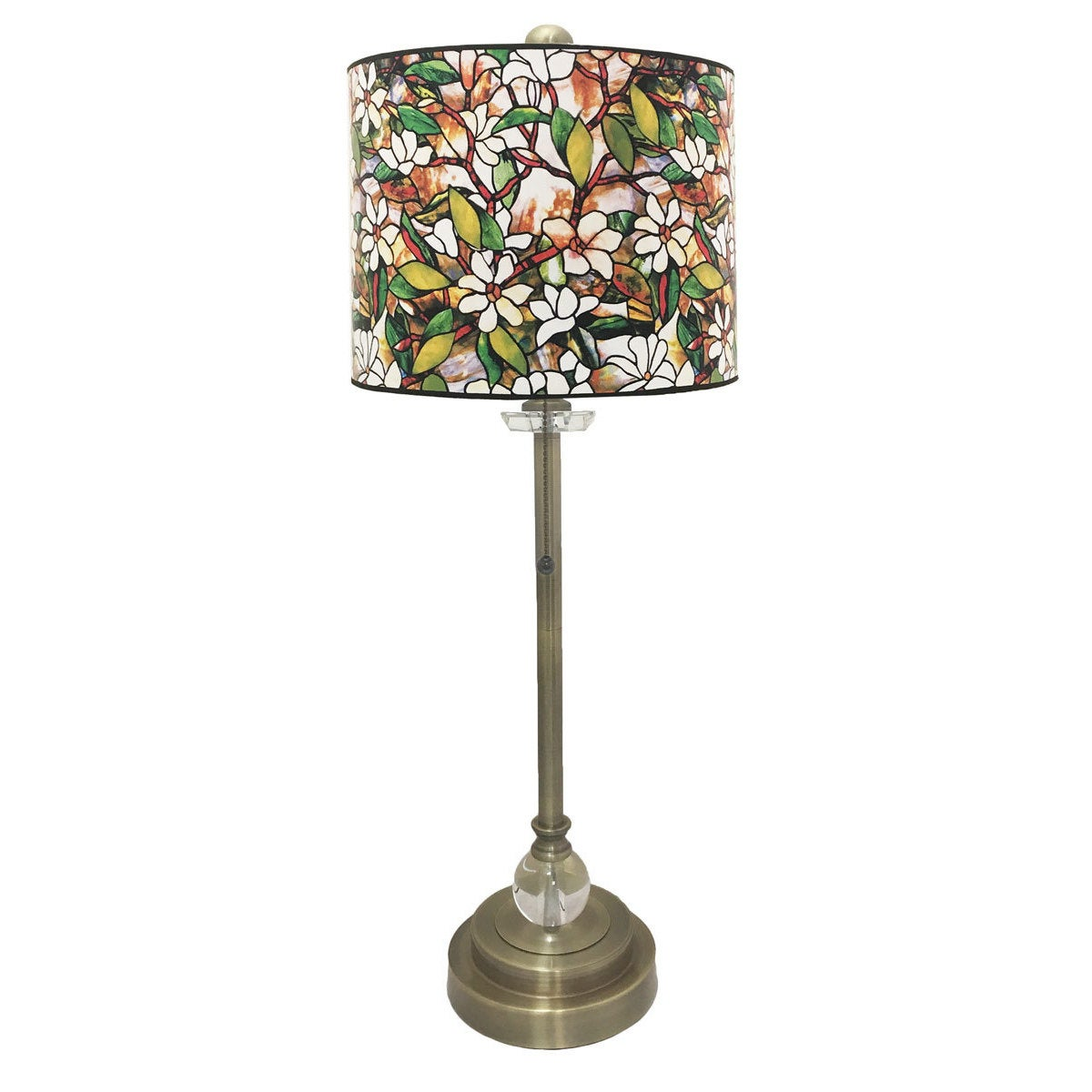 Picture of: Shop Black Friday Deals On Royal Designs Antique Brass Lamp With Magnolia Stained Glass Design Lamp Shade Overstock 19503229 1 Light Crystal