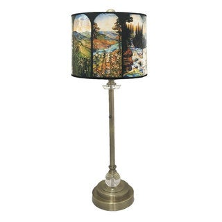 """Royal Designs 28"""" Crystal and Antique Brass Buffet Lamp with Four Seasons Stained Glass Design Hard Back Lamp Shade"""