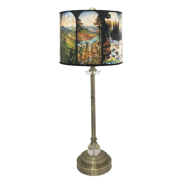 Royal Designs Antique Brass Lamp with Seasons Stained Glass Lamp Shade