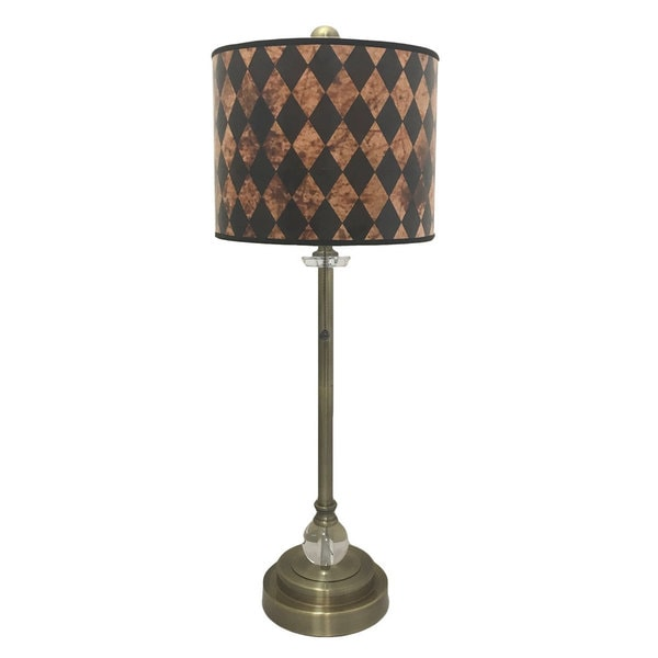 Royal Designs Antique Brass Lamp with Vertical Black Diamond Lamp Shade