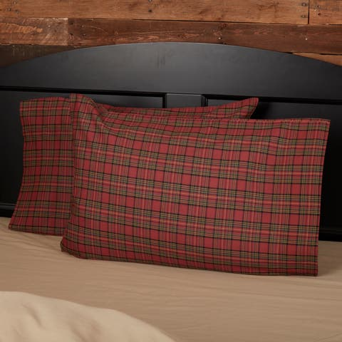 Red Rustic Bedding VHC Tartan Red Plaid Pillow Case Set of 2 Cotton Plaid