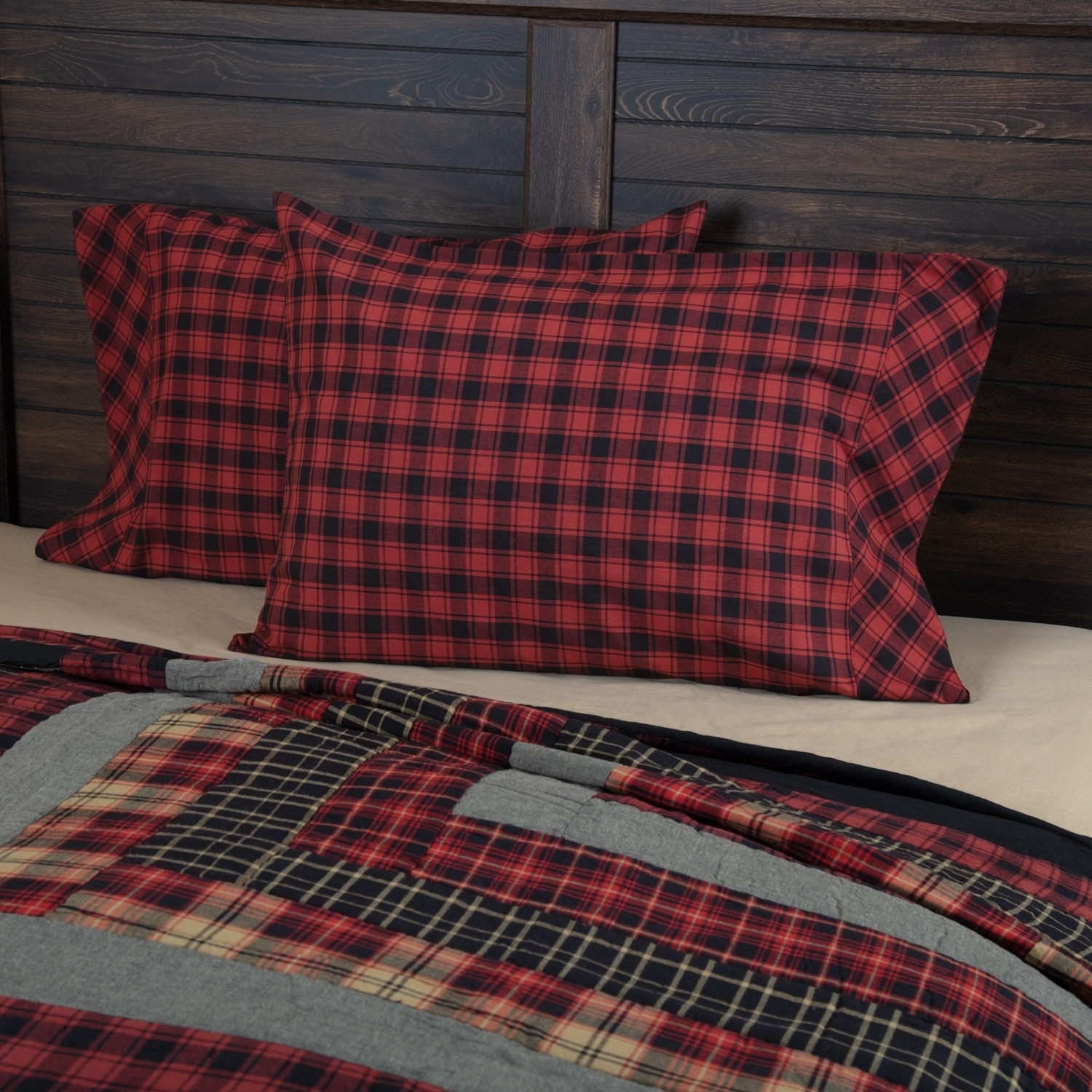 COUNTRY CABIN LODGE ANDES PILLOW COVER RED BLACK PLAID QUILTED Standard SHAM