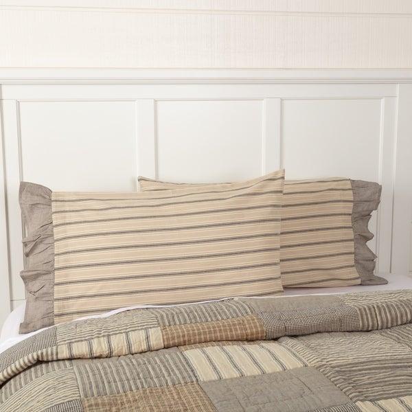 White Farmhouse Bedding VHC Sawyer Mill Pillow Case Set of 2 Cotton Striped