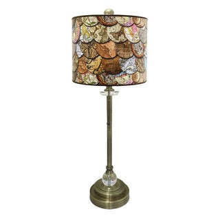 """Royal Designs 28"""" Crystal and Antique Brass Buffet Lamp with Vintage Old World Maps Design Hard Back Lamp Shade"""