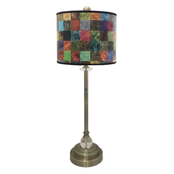 Royal Designs Antique Brass Lamp with Colorful Patchwork Lamp Shade
