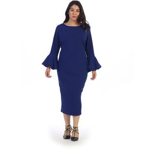 Ruffle Bell Sleeve Plus Size Dress
