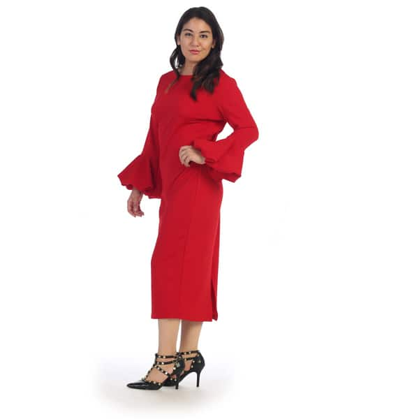 Shop Ruffle Bell Sleeve Plus Size Dress - Free Shipping ...