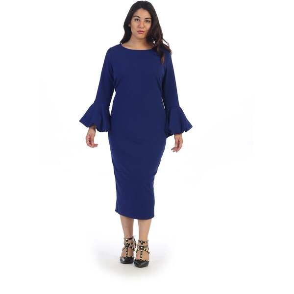 Shop Ruffle Bell Sleeve Plus Size Dress Free Shipping Today