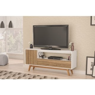 "Boahaus Modern TV Stand up to 65"", White Walnut, 1 Drawer, 1 open compartment"