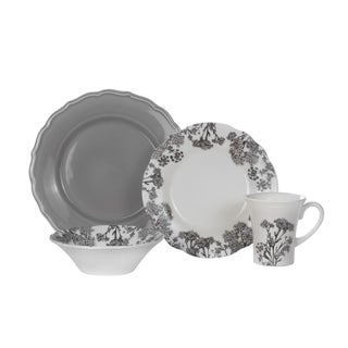 Euro Ceramica Savannah 16-piece Dinnerware Set (Service for 4) (Option: Grey)