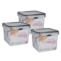 Stor-All Solutions 9.5 Cup Press & Click Square Food Storage- 3 Pack