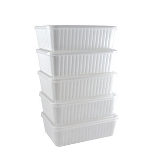 Stor-All Solutions 9 Cup Rectangle Micro-Serve Food Storage 5-Pack
