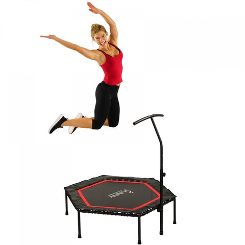 Sunny Health & Fitness Hexagon Trampoline with Adjustable Handlebar and Premium High Bouncing Bungee Cords