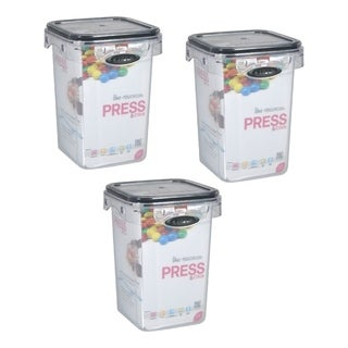 Stor-All Solutions 2.75 Cup Press & Click Tall Square Canister- 3 Pack