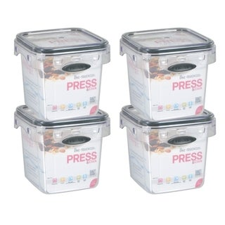 Stor-All Solutions 1.7 Cup Press & Click Tall Square Canister- 4 Pack