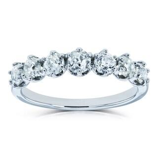 Annello by Kobelli Platinum 1 1/8ct TDW 7-Stone Round Old Mine Cut Diamond 1 1/8 CTW Wedding Band