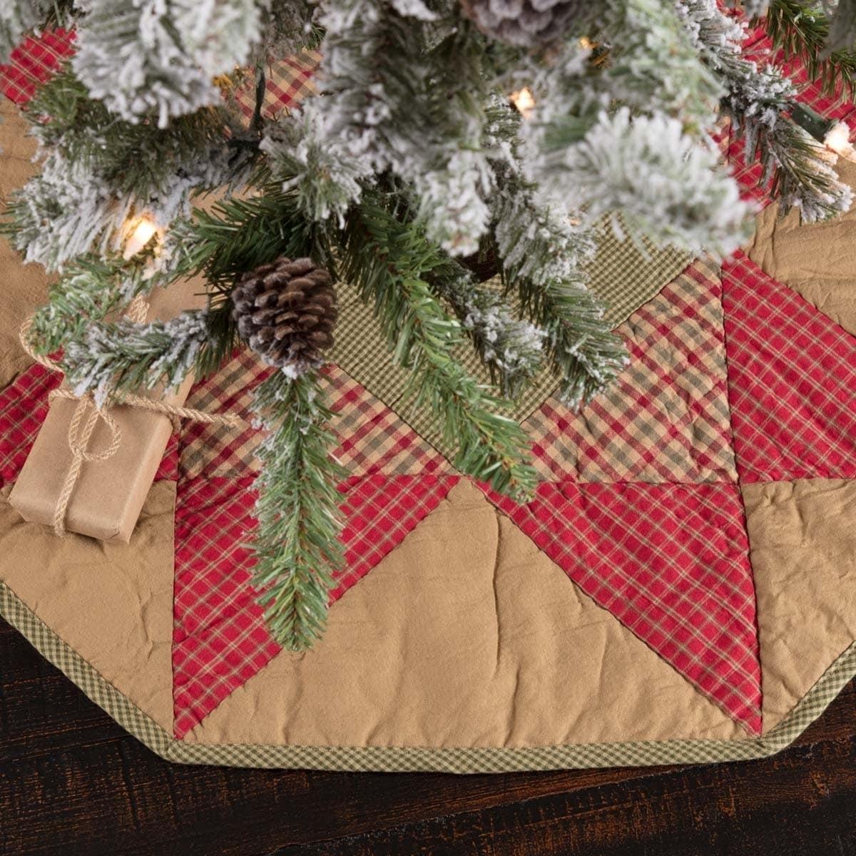 Tan Primitive Christmas Holiday Decor Vhc Dolly Star Tree Skirt Cotton Star Patchwork 21 Diameter