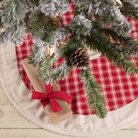 "Red Plaid Mini Tree Skirt - 21"" diameter"