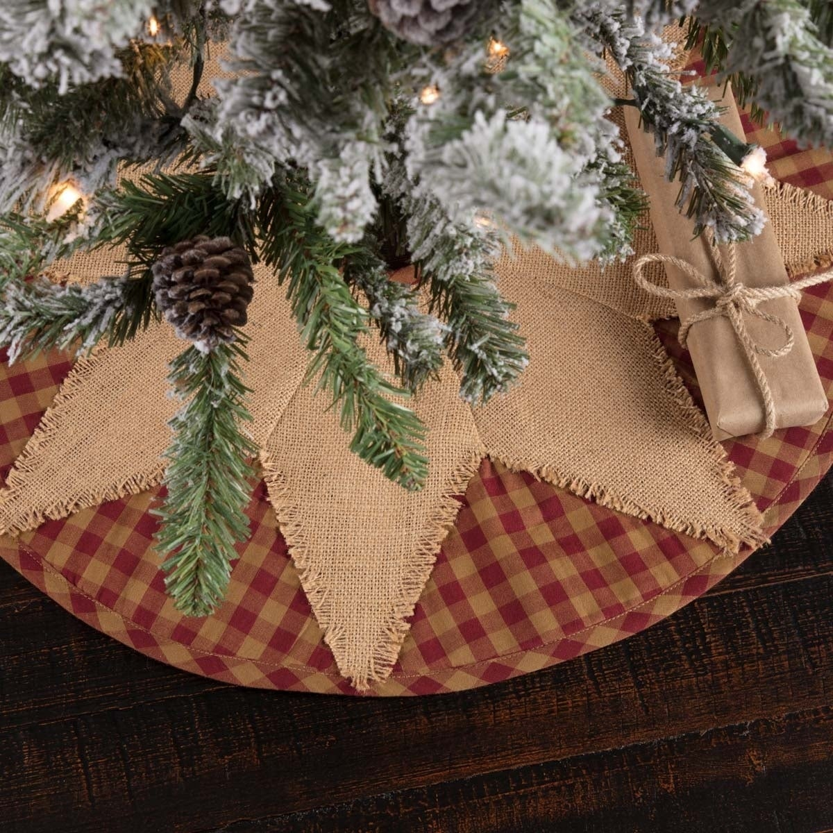 Red Primitive Christmas Holiday Decor Vhc Burgundy Check Star Tree Skirt Jute