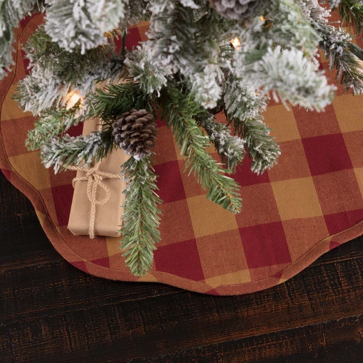 Red Primitive Christmas Holiday Decor Vhc Burgundy Check Tree Skirt Cotton Check
